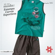 Para os meninos, conjunto com estampa de carros esportivos é tendência de moda Primavera 2013
