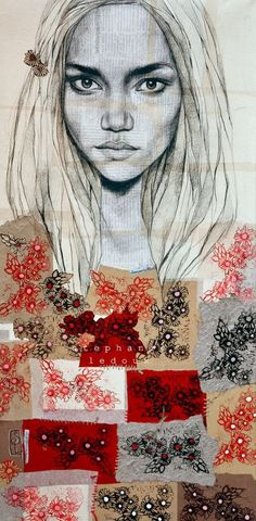 Stephanie Ledoux--I love the stitched papers #art #collage #patchwork
