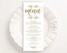 Gold Printable Menu Card Template Editable Text Instant Thank You Printable, Printable Menu, Printables, Rustic Wedding Menu, Wedding Dinner Menu, Vow Renewal Invitations, Kraft Wedding Invitations, Menu Card Template, Wedding Menu Template