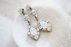 Antique silver Swarovski crystal Bridal earrings - SKYLAR – Treasures by Agnes Statement Earrings, Drop Earrings, White Opal, Bridal Earrings, Antique Silver, Swarovski Crystals, Handmade Items, Just For You, Hair Accessories