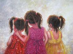 Three Sisters Original Oil Painting on canvas three brunette sisters three girls art, girls room wall art, Vickie Wade art