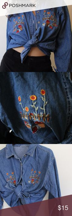 Vintage Denim Sunflower Top Holly heck this shirt though! It buttons up and can be worn untied as well. No tags but approx size L Vintage Tops