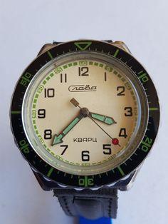 Soviet russian SLAVA quartz military style  men's watch, 1980's, Ca 3056 A #LUCH #Military