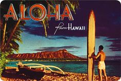 Outrigger & Diamond Head  Kodachrome Postcard, 1951  Vintage Hawaiian Postcard