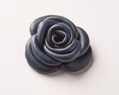 Dark blue - Luxury leather flower accessory for dog leash | Signe Louka
