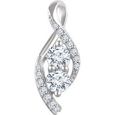 Two-Stone 14kt White 5/8 CTW Diamond Pendant for Mother's Day!