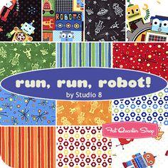 Run, Run, Robot! Fat Quarter Bundle Studio 8 for Quilting Treasures - Fat Quarter Shop