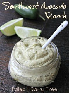 Ranch dressing gets a southwest makeover! This Southwest Avocado Ranch Dressing & Dip is dairy-free, creamy, delicious & full of flavor! Paleo friendly.