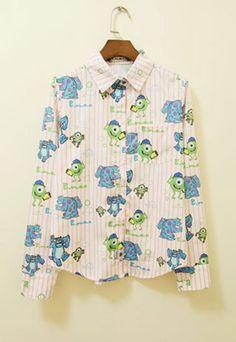 Cute Chic Cartoon Figure Vertical Stripe Print T-shirt