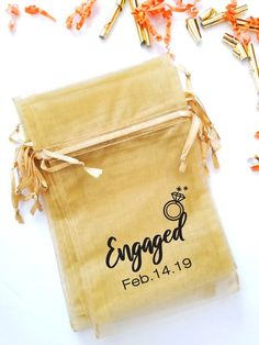 Printed Organza Bags- Engaged | Fabric Favour Bags | Drawstring Pouch | Mesh Candy Bags | Party Gift Bags