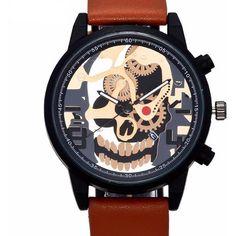 Cool Skull Head Leather Wristwatch - Skullflow    https://www.skullflow.com/collections/skull-watches/products/cool-skull-head-leather-wristwatch