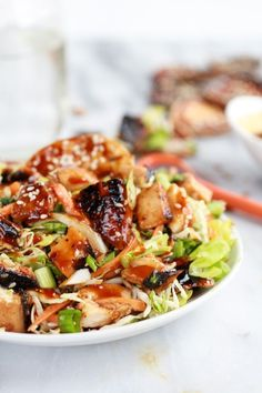 Chopped Asian BBQ Chicken Salad with Honey-Sesame Crackers. Yummy! I love any Asian BBQ.