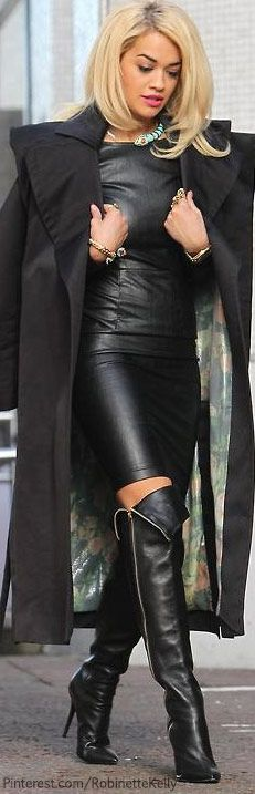 LOVE this coat!!! Look at that lining even!! Street Style | Leather ooooooooothe BOOTS