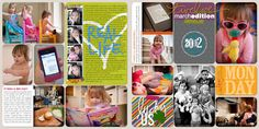 Super cute and colorful Digital Project Life layout by Lindsay Teague Moreno.