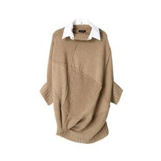 A.T プルオーバーニット ($370) ❤ liked on Polyvore featuring tops, sweaters, dresses, shirts, women, brown shirt, brown tops, brown sweater and shirt sweater