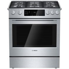Bosch 800 Series 30-in 5-Burner 4.8-cu ft Self-Cleaning Slide-In Convection Gas Range (Stainless Steel)