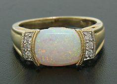 14k Solid Gold Cushion Opal Diamond Tourmaline Open Work Unique Ladies Ring