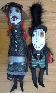 Agnes and Oliver - Edward Gorey inspired Vampire gothic couple - art dolls by Monster Maud