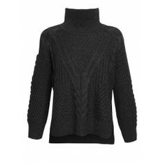 Duffy Funnel Neck Cropped Argyle Knit - Charcoal