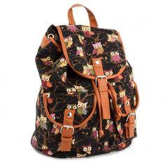 Women Cute Cartoon Owls Pattern Canvas Backpack Shoulder Bag Students Schoolbag Book Bag