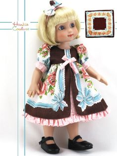 "OOAK VINTAGE HANKIE COUTURE DOLL DRESS FITS 10"" TONNER ANN ESTELLE PATSY SOPHIE"