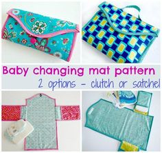 A wipe clean baby changing mat with pockets for your pack of wipes, some diapers etc. Two styles in the same pattern, a satchel style with handle or a clutch style. Construction for each is basically the same.