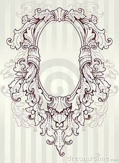 Ornate Oval Frame Drawing | Royalty Free Stock Image: Baroque oval frame