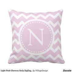 Light Pink Chevron Girly ZigZag Monogram Throw Pillow
