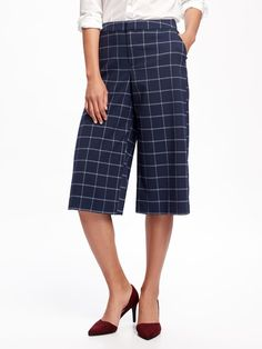 Mid-Rise Drapey Wool Blend Culotte Pant for Women in Navy Plaid | Old Navy Fall 2016