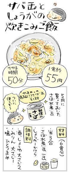 【1食約55円】水煮缶で簡単!サバとしょうがの炊き込みごはん : おひとりさまのあったか1ヶ月食費2万円生活