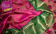 Pink & Green Kanchipuram Handloom Silk Saree – Palam Silks