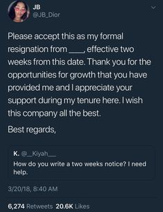 Two weeks notice-resignation letter college hacks, college life, school hacks, dorm