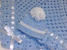 Crochet granny square baby blanket set newborn hat booties blue stroller lap afghan boy by theshimmeringrose
