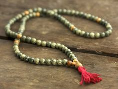 Russian Serpentine and Olivewood Full Mala #Uncategorized