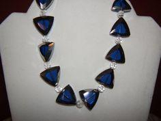 Blue Glass Triangle Choker