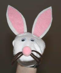 Como hacer titeres de conejo de calcetin