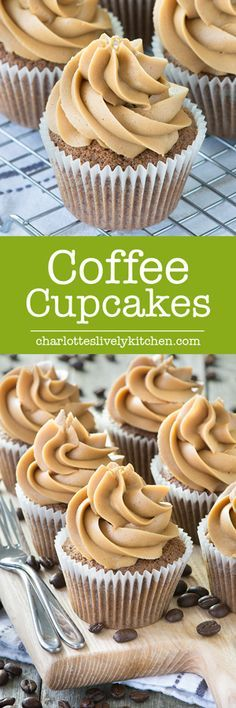 Delicious coffee cupcakes that are easy to make and packed full of coffee flavor. Perfect topped with coffee buttercream Delicious coffee cupcakes that are easy to make and packed full of coffee flavor. Perfect topped with coffee buttercream Just Desserts, Delicious Desserts, Dessert Recipes, Cupcake Recipes Easy, Cupcake Frosting Recipes, Homemade Frosting, Health Desserts, Food Cakes, Cupcake Cakes