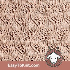 Eyelet Lace Japanese Feather - Easy To Knit Knitting Stiches, Knitting Blogs, Crochet Stitches Patterns, Knitting Charts, Easy Knitting, Loom Knitting, Knitting Patterns Free, Knitting Projects, Stitch Patterns