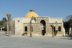 This is the Hammam Yalbougha al-Nasri.  Built after the 10th century in Syria, one source discussed the spacial sequence of this building was dictated by the the new heating system that was introduced to the area.  Rooms were heated by fireplaces in the building, therefore the hottest rooms were in the center near the heat source, and the cooler rooms on the exterior.  I was not able to find a floor plan of this building, but the chimney is visible in the center of the dome of this image.