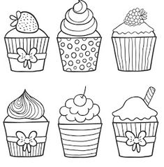 Cupcakes, sorvetes, bolos e doces (Cupcakes, ice creams, cakes and sweets) Coloring Pages For Grown Ups, Free Adult Coloring Pages, Coloring Pages To Print, Free Printable Coloring Pages, Coloring Book Pages, Coloring For Kids, Cupcake Drawing, Cupcake Art, Cupcake Coloring Pages