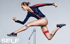 Action star: The model shows off her athletic figure (and impossibly long legs) as she lea...