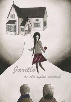 Hansel y Gretel  Lámina Impresa  Tinta y por JarilloArtCraft