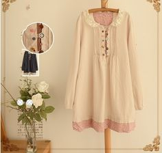 spring new arrival mori girl Hollow Out Peter pan Collar Cute Buttons long sleeve Dress