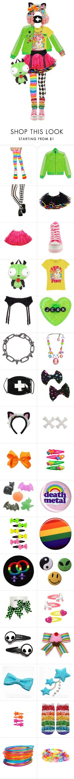 """owo wats this............"" by pinkiecore ❤ liked on Polyvore featuring Leg Avenue, adidas Originals, Hot Topic, My Little Pony, Hanky Panky, Sourpuss, Blu Bijoux, Tarina Tarantino, GE and Kreepsville 666"
