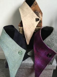 Scarf / Collar – Harris Tweed Lovely handmade collar – looks stylish with any top, jumper or coat. Sewing Scarves, Sewing Clothes, Diy Fashion, Ideias Fashion, Mens Fashion, Vêtement Harris Tweed, Shades Of Violet, Cowl Scarf, Crochet Slippers