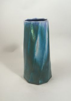 Porcelain Twist Faceted Vase by NC potter, David Voorhees Pottery