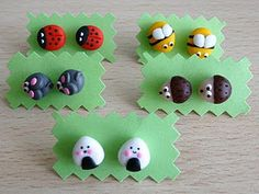 CUTE!!! These are made of clay but also you can paint rocks to look like this.