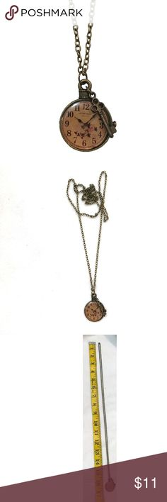 NECKLACE - Vintage Clock & Key Pendant HANDMADE * Bronze toned chain, chain length approx. 80cm long - If necklace length is an issue, please comment below with desired chain length! Once you have purchased the necklace, I will personally fix chain to your desired length before shipping! vintage looking clock pendant. fake clock. vintage looking key pendant. ❌TRADES❌ Jewelry Necklaces