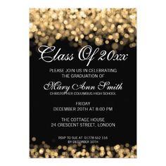 Shiny confetti graduation party invitation pink invitation card elegant graduation party gold lights card stopboris Choice Image