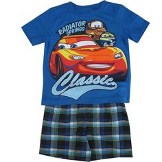 Celebrity cartoon character enlivens this great Disney licensed outfit. The royal blue tee features a Lightning McQueen character print from the famous Cars animated movies. The coordinating plaid shorts complete the summery set.